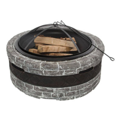 Sun Joe SJFP35-CS-STN Cast Stone Fire Pit