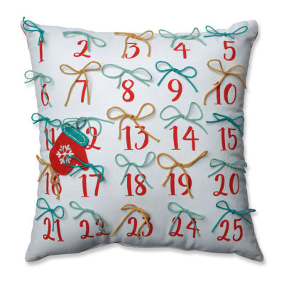 Pillow Perfect Advent Pillow Red-Aqua 17.5-inch Throw Pillow