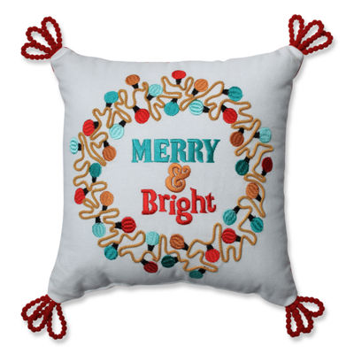 Pillow Perfect Christmas Lights Wreath Red-Aqua 11.5-inch Throw Pillow