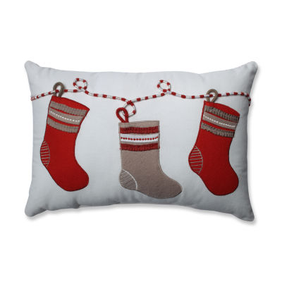 Pillow Perfect Country Home Stockings Red/White Rectangular Throw Pillow