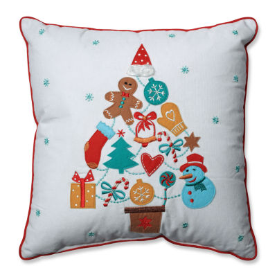Pillow Perfect Gift Tree Red-Aqua 16-inch Throw Pillow