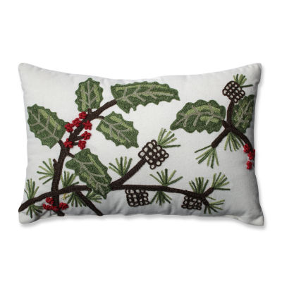Pillow Perfect Holly & Berry Pine Rectangular Throw Pillow