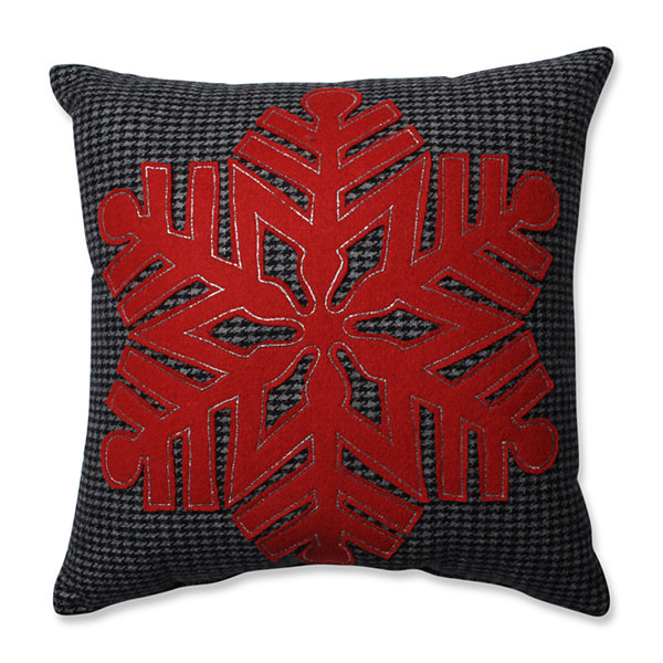 Pillow Perfect Single Red Snowflake Black-Red 16-inch Throw Pillow