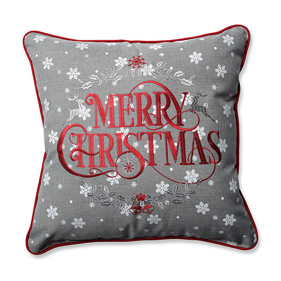Pillow Perfect Snowy Christmas Grey-Red 16.5-inch Throw Pillow