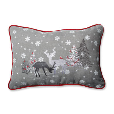 Pillow Perfect White Christmas Grey Rectangular Throw Pillow