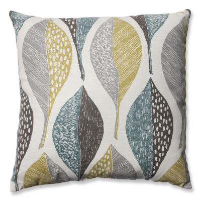 Pillow Perfect Woodblock Leaf Rain Throw Pillow
