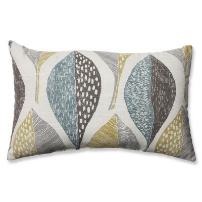 Pillow Perfect Woodblock Leaf Rain Rectangular Throw Pillow
