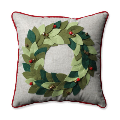 Pillow Perfect Jingle Bells Wreath Green 16.5-inch Throw Pillow