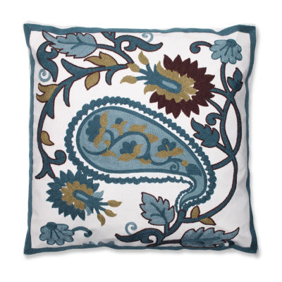 Pillow Perfect Large Paisley 18-inch Embroidered Throw Pillow