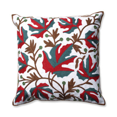 Pillow Perfect Leaves 18-inch Embroidered Throw Pillow