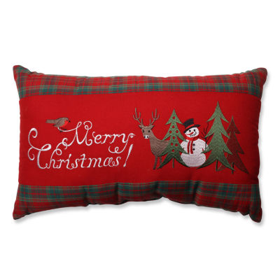 Pillow Perfect Merry Christmas Plaid Rectangular Throw Pillow