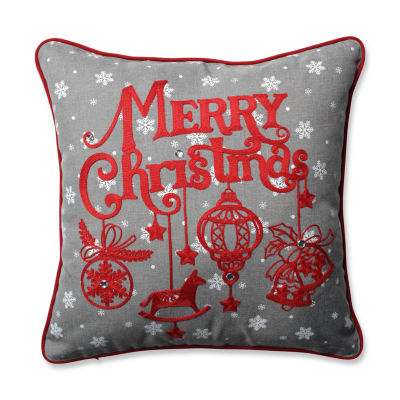 Pillow Perfect Ornamental Christmas Grey-Red 16.5-inch Throw Pillow