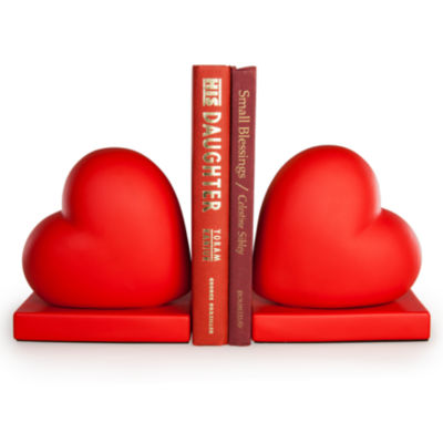Danya B. Red Hearts Bookend Set
