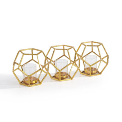 Danya B. Sparkling Gold Polyhedron Triple Candle Holder