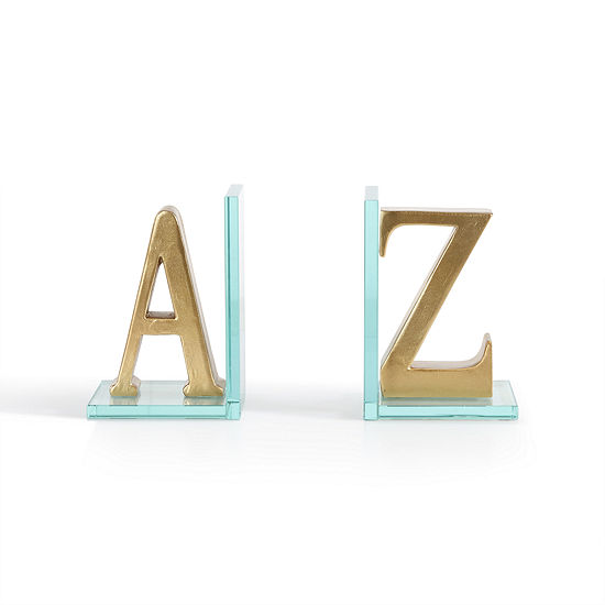 Danya B Gold A To Z Glass Bookends