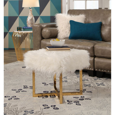 Devon & Claire Margot Stainless Steel Faux Fur Foot Stool
