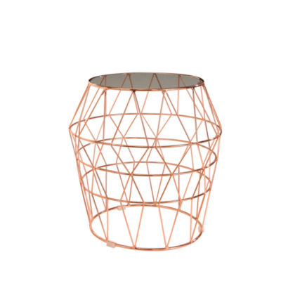 Devon & Claire Lucille Glass Top Stainless Steel End Table