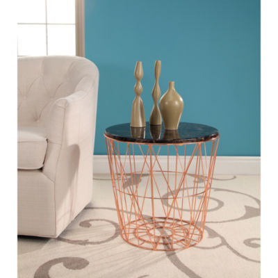 DEVON & CLAIRE BENNINGTON MARBLE AND STAINLESS STEEL END TABLE