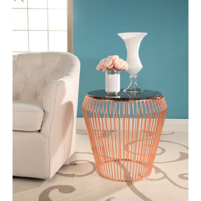 Devon & Claire Taffoli Marble and Stainless Steel End Table