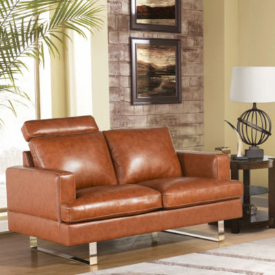 Devon & Claire Andres Top Grain Leather Loveseat
