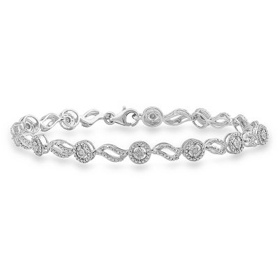 1/4 CT. T.W. Genuine White Diamond Sterling Silver Tennis Bracelet
