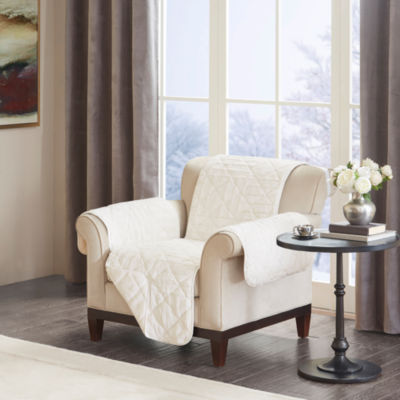 Madison Park Arctic Checkboard Long Faux Fur Chair Protector