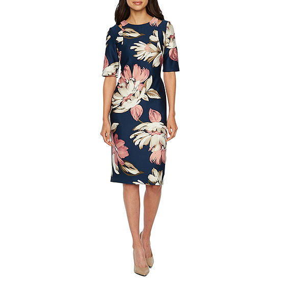 Danny Nicole Short Sleeve Floral Sheath Dress