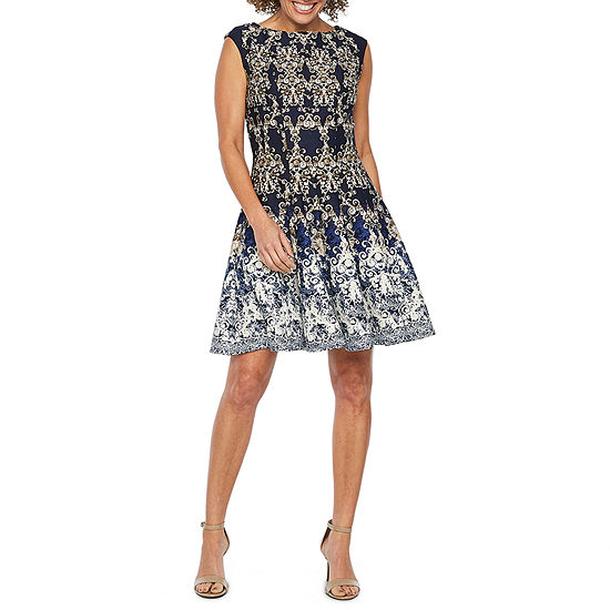 Danny & Nicole Sleeveless Damask Fit & Flare Dress
