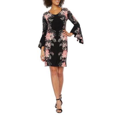 MSK Long Sleeve Floral Shift Dress