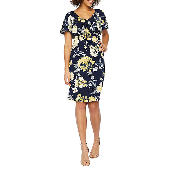 Connected Apparel Short Sleeve Floral Midi Sheath Dress