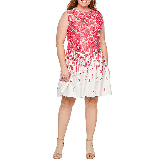 Danny Nicole Sleeveless Floral Fit Flare Dress Plus