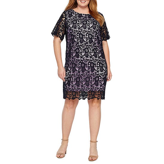 Studio 1 Short Sleeve Eyelet Shift Dress-Plus