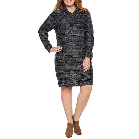 Studio 1 Long Sleeve Cowl Neck Sweater Dress - Plus