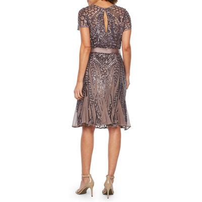 R & M Richards Short Sleeve Beaded Fit & Flare Dress