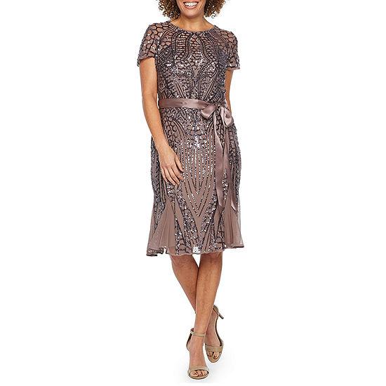 R & M Richards Short Sleeve Beaded Fit & Flare Dress
