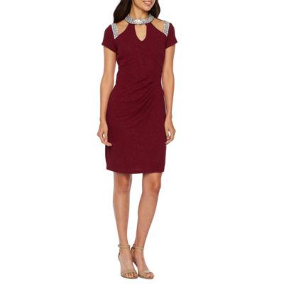 Blu Sage Short Sleeve Embellished Sheath Dress
