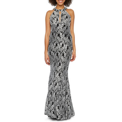 R & M Richards Sleeveless Halter Lace Evening Gown