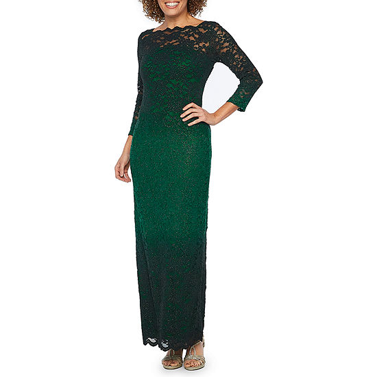 7c86f56aeed Onyx Nites 3 4 Sleeve Ombre Lace Evening Gown - JCPenney
