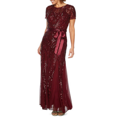 R & M Richards Short Sleeve Belted Evening Gown