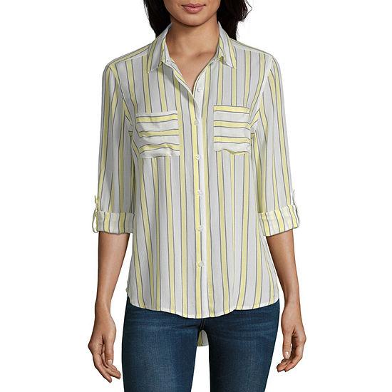 a.n.a Womens Long Sleeve Button-Front Shirt