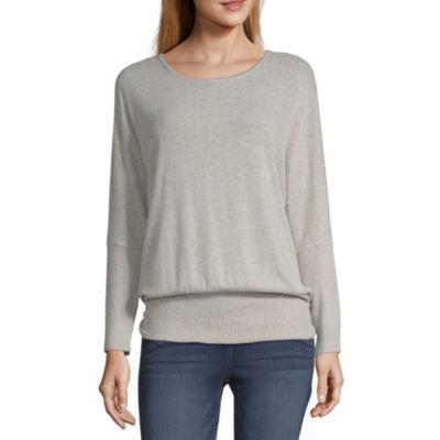 Alyx Womens Round Neck Long Sleeve Knit Dress Shirt