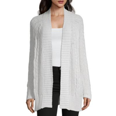 Liz Claiborne Womens Long Sleeve Open Front Stripe Cardigan
