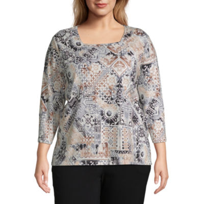 Alfred Dunner Geo Patchwork Tee - Plus