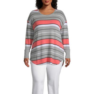 Liz Claiborne-Womens Round Neck Long Sleeve T-Shirt Plus