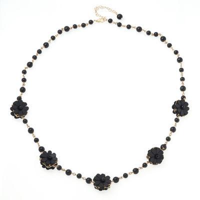 Bijoux Bar Womens Black Beaded Necklace