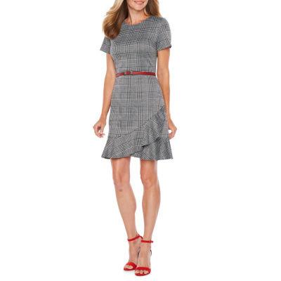 London Times Short Sleeve Plaid Fit & Flare Dress