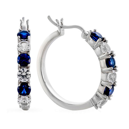 Blue & White Lab-Created Sapphire Sterling Silver Hoop Earrings