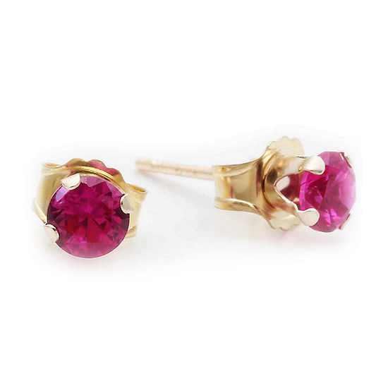 10K Yellow Gold 4mm Lab-Created Ruby Stud Earrings