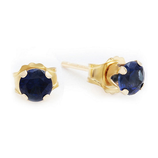 10K Gold Lab-Created Sapphire Stud Earrings