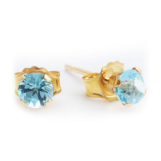 Genuine Blue Topaz 10K Yellow Gold 4mm Stud Earrings